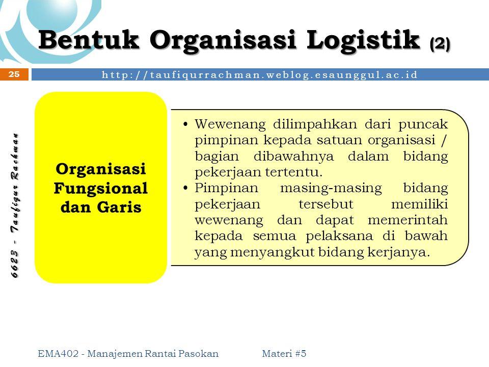 http://taufiqurrachman.weblog.esaunggul.ac.id 6 6 2 3 - T a u f i q u r R a c h m a n Bentuk Organisasi Logistik (2) Materi #5 EMA402 - Manajemen Rant