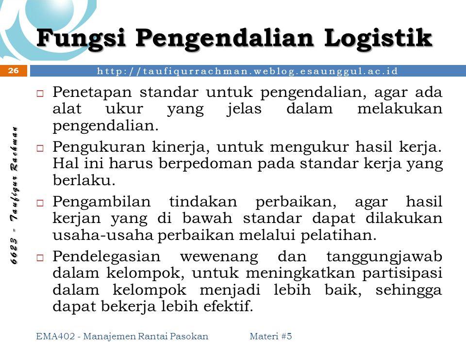 http://taufiqurrachman.weblog.esaunggul.ac.id 6 6 2 3 - T a u f i q u r R a c h m a n Fungsi Pengendalian Logistik Materi #5 EMA402 - Manajemen Rantai