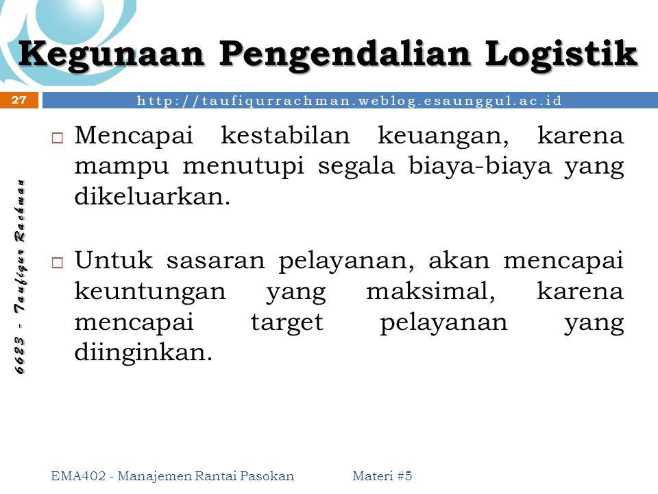 http://taufiqurrachman.weblog.esaunggul.ac.id 6 6 2 3 - T a u f i q u r R a c h m a n Kegunaan Pengendalian Logistik  Mencapai kestabilan keuangan, k