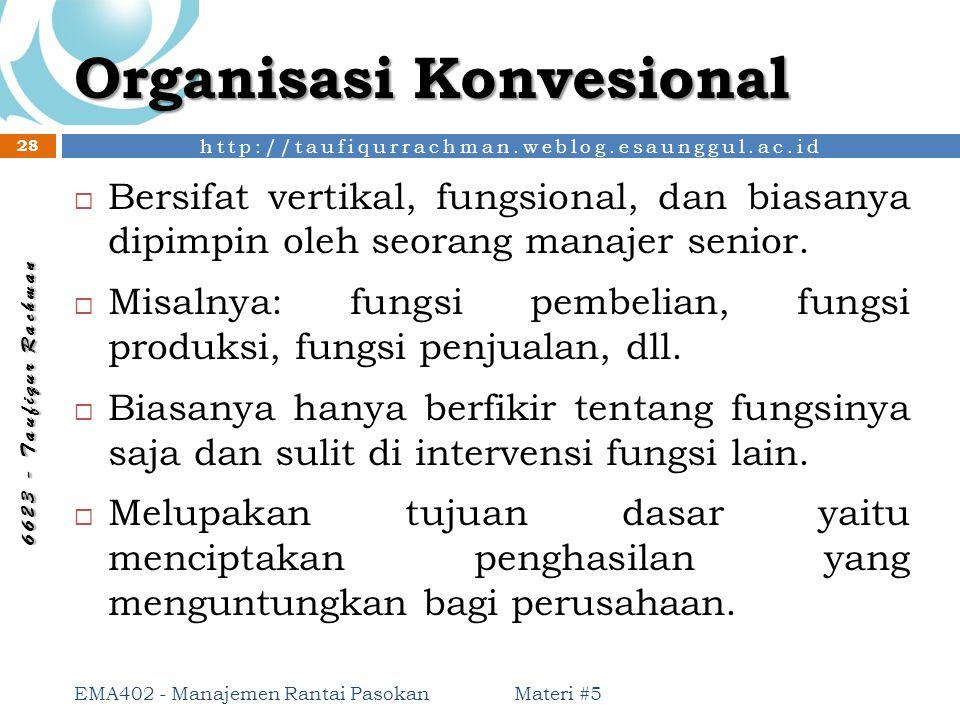 http://taufiqurrachman.weblog.esaunggul.ac.id 6 6 2 3 - T a u f i q u r R a c h m a n Organisasi Konvesional Materi #5 EMA402 - Manajemen Rantai Pasok