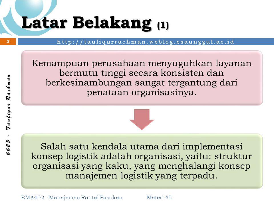 http://taufiqurrachman.weblog.esaunggul.ac.id 6 6 2 3 - T a u f i q u r R a c h m a n Bentuk Organisasi Logistik (1) Materi #5 EMA402 - Manajemen Rantai Pasokan 24 Wewenang dilimpahkan dari puncak pimpinan kepada satuan organisasi / bagian di bawahnya.
