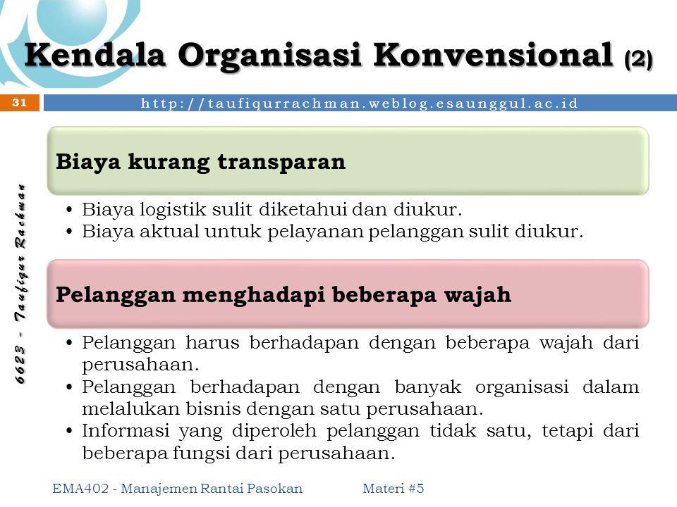 http://taufiqurrachman.weblog.esaunggul.ac.id 6 6 2 3 - T a u f i q u r R a c h m a n Kendala Organisasi Konvensional (2) Materi #5 EMA402 - Manajemen