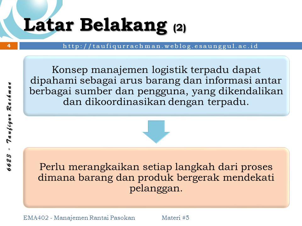 http://taufiqurrachman.weblog.esaunggul.ac.id 6 6 2 3 - T a u f i q u r R a c h m a n Latar Belakang (2) Konsep manajemen logistik terpadu dapat dipah
