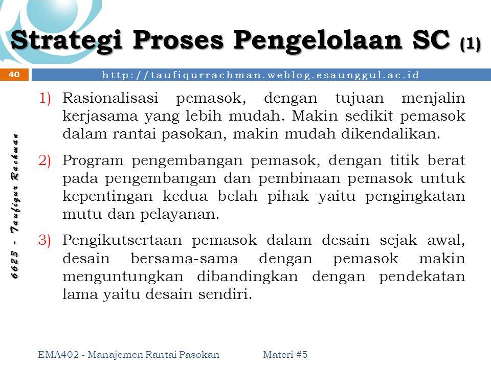 http://taufiqurrachman.weblog.esaunggul.ac.id 6 6 2 3 - T a u f i q u r R a c h m a n Strategi Proses Pengelolaan SC (1) Materi #5 EMA402 - Manajemen