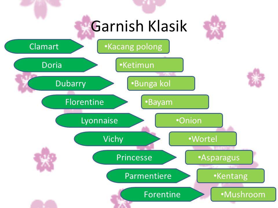 Pertimbangan-pertimbangan dalam menempatkan garnish –Hidangan disajikan tanpa menggunakan garnish Hidangan sudah tampil menarik.