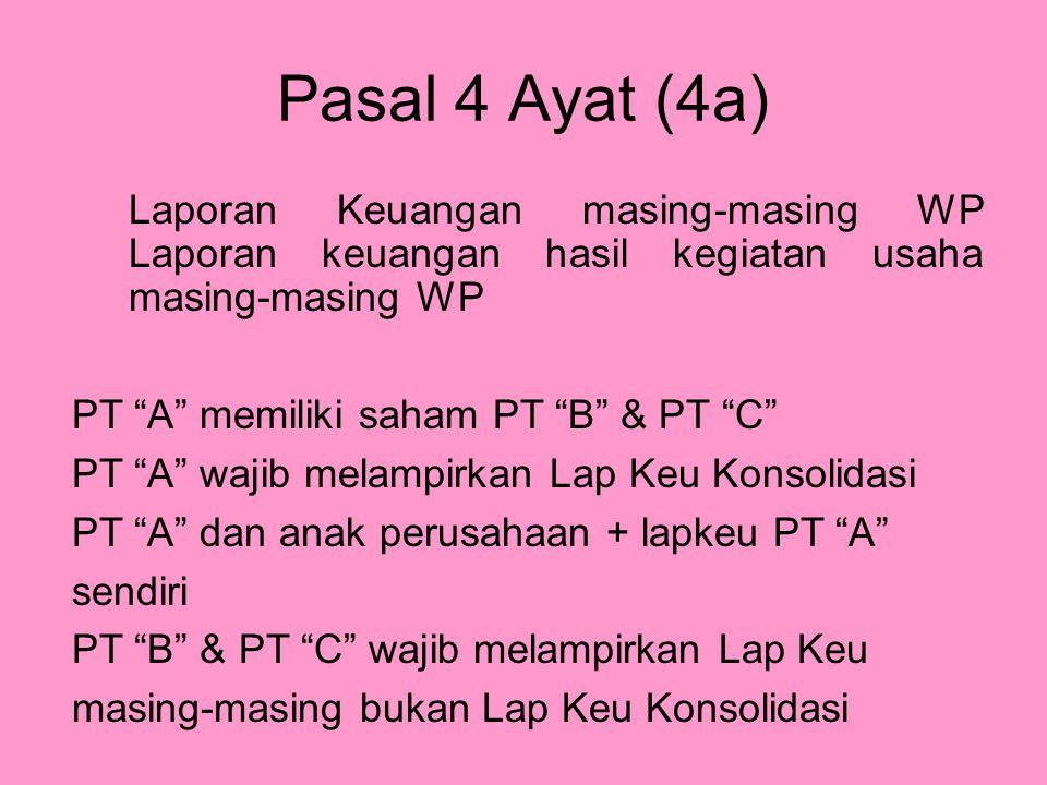 """Pasal 4 Ayat (4a) Laporan Keuangan masing-masing WP Laporan keuangan hasil kegiatan usaha masing-masing WP PT """"A"""" memiliki saham PT """"B"""" & PT """"C"""" PT """"A"""