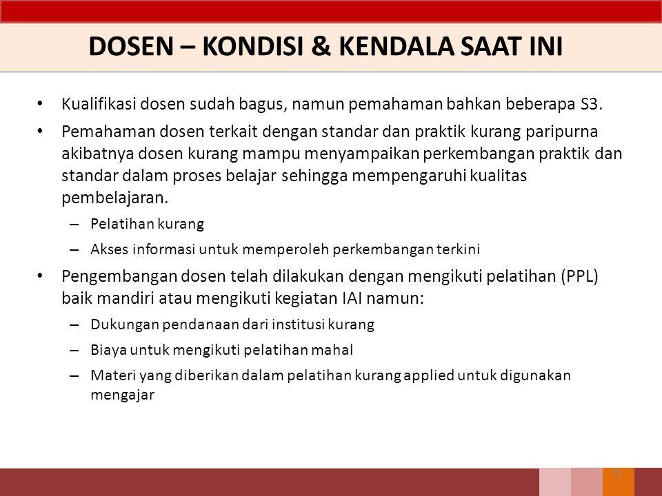 DOSEN – KONDISI & KENDALA SAAT INI Kualifikasi dosen sudah bagus, namun pemahaman bahkan beberapa S3. Pemahaman dosen terkait dengan standar dan prakt