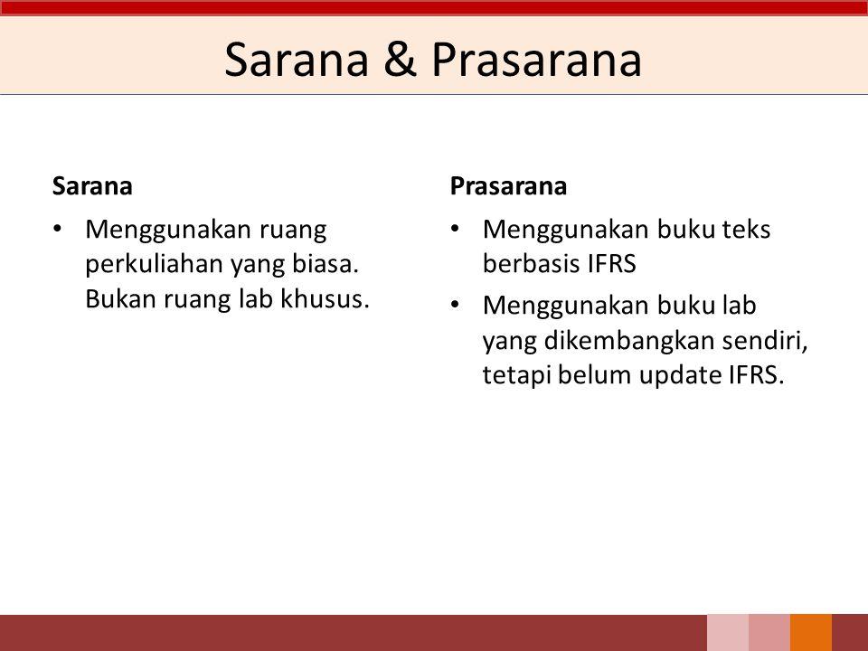 Sarana & Prasarana Sarana Menggunakan ruang perkuliahan yang biasa. Bukan ruang lab khusus. Prasarana Menggunakan buku teks berbasis IFRS Menggunakan