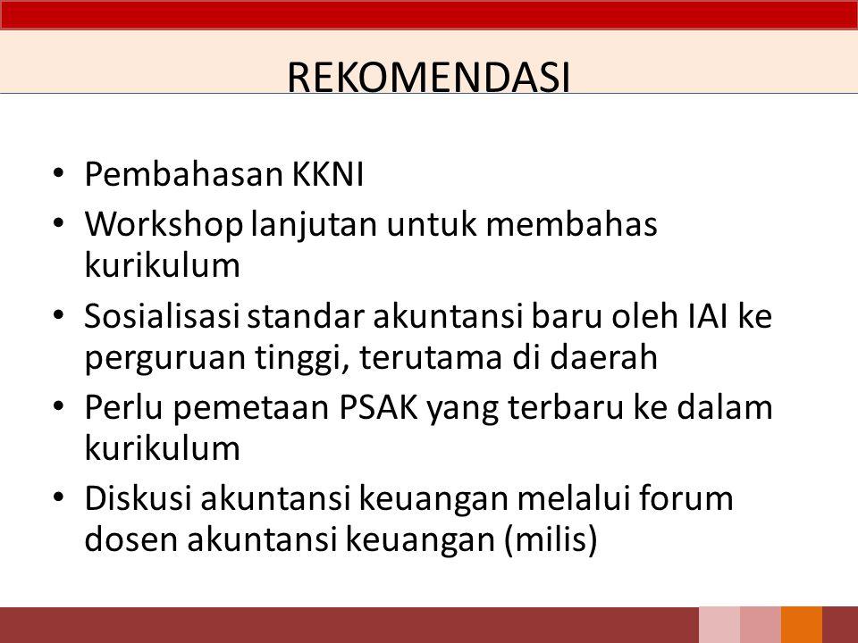 REKOMENDASI Pembahasan KKNI Workshop lanjutan untuk membahas kurikulum Sosialisasi standar akuntansi baru oleh IAI ke perguruan tinggi, terutama di da