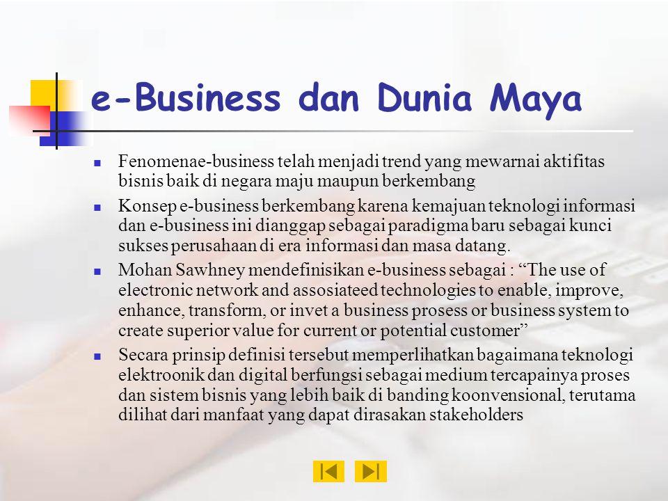 e-Business dan Dunia Maya Fenomenae-business telah menjadi trend yang mewarnai aktifitas bisnis baik di negara maju maupun berkembang Konsep e-business berkembang karena kemajuan teknologi informasi dan e-business ini dianggap sebagai paradigma baru sebagai kunci sukses perusahaan di era informasi dan masa datang.