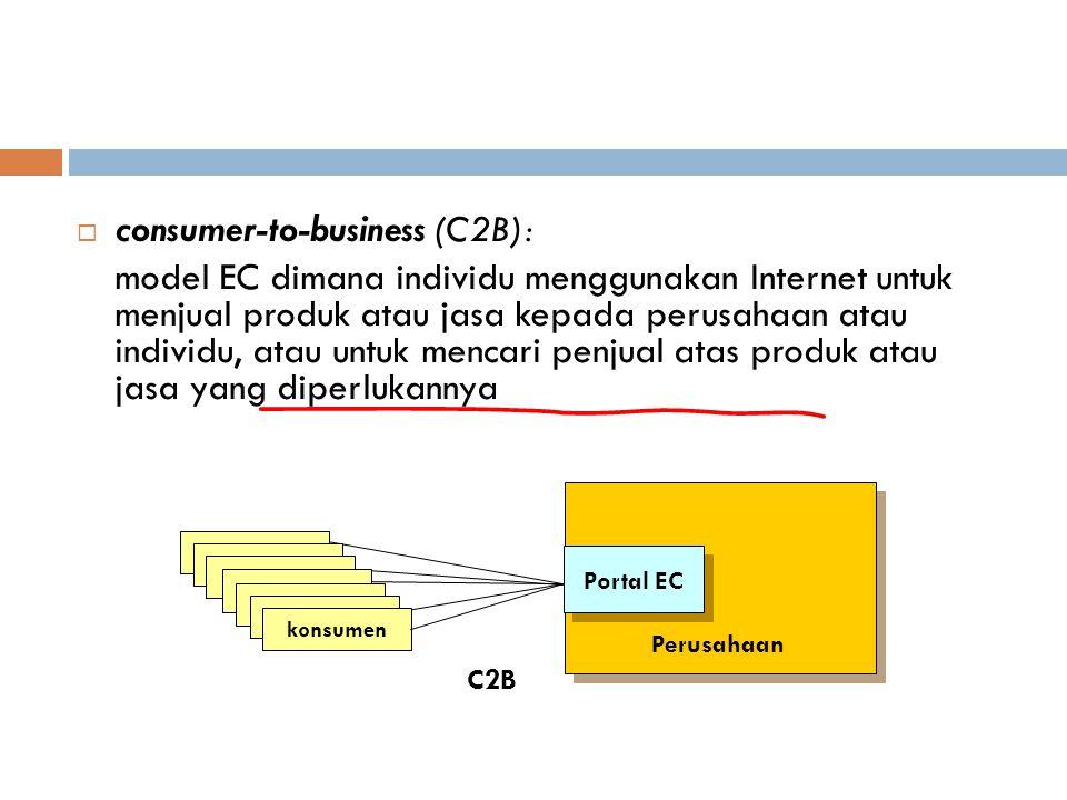  consumer-to-business (C2B): model EC dimana individu menggunakan Internet untuk menjual produk atau jasa kepada perusahaan atau individu, atau untuk