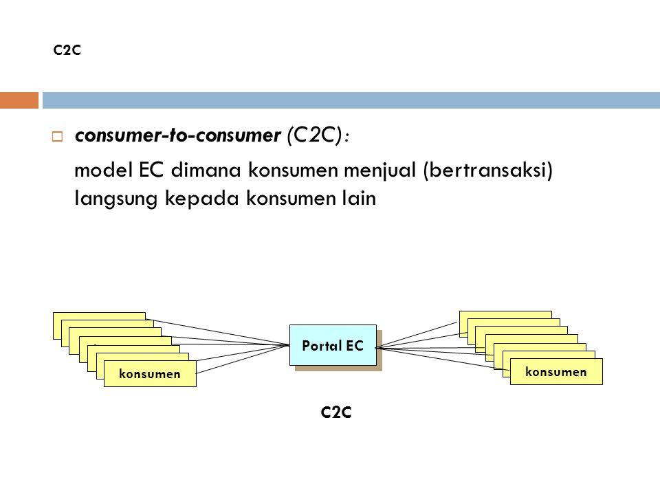  consumer-to-consumer (C2C): model EC dimana konsumen menjual (bertransaksi) langsung kepada konsumen lain Portal EC konsumen C2C