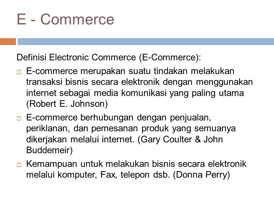 Electronic Commerce: Definisi dan Konsep  E-commerce dapat didefinisikan dari beberapa perspektif:  Komunikasi: pengiriman barang, jasa, informasi, atau pembayaran melalui jaringan komputer atau sarana electronik lainnya  Perdagangan: penyediaan sarana untuk membeli dan menjual produk, jasa, dan informasi melalui Internet atau fasilitas online lainnya