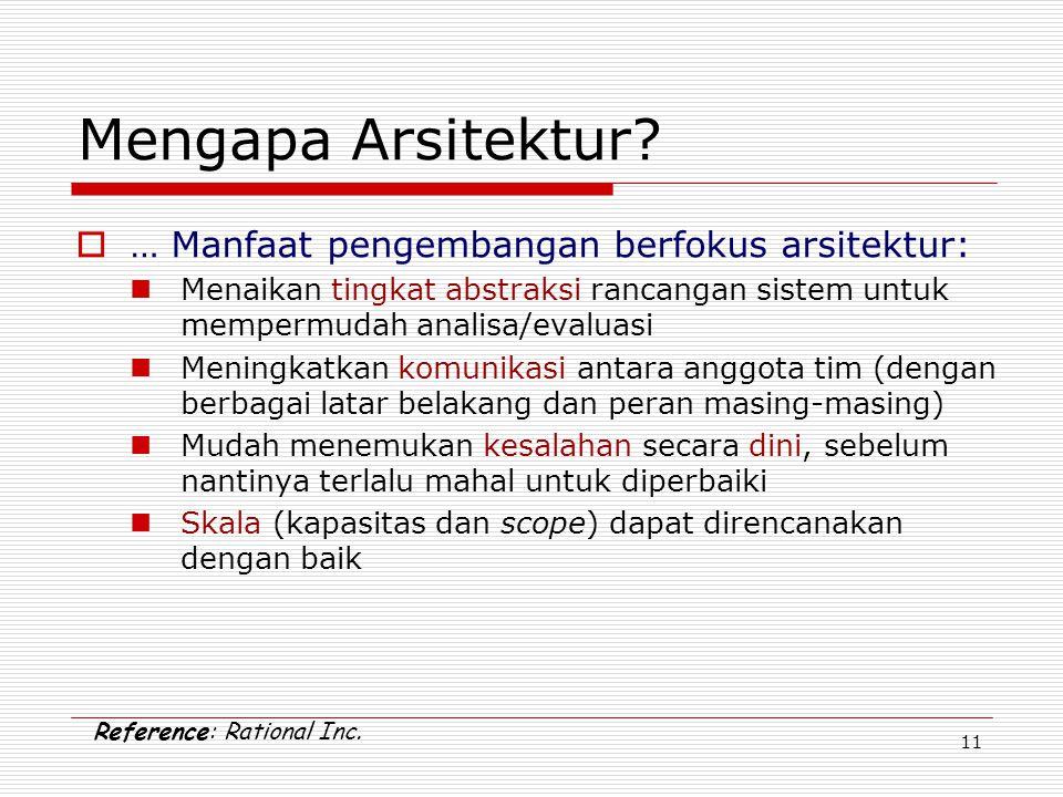11 Mengapa Arsitektur?  … Manfaat pengembangan berfokus arsitektur: Menaikan tingkat abstraksi rancangan sistem untuk mempermudah analisa/evaluasi Me