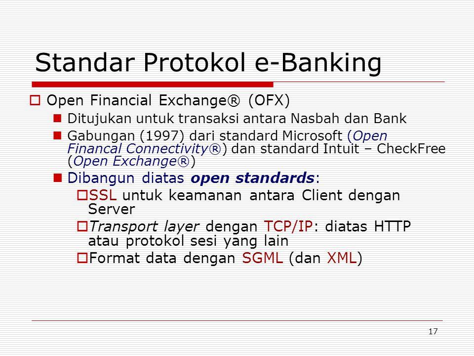 17 Standar Protokol e-Banking  Open Financial Exchange® (OFX) Ditujukan untuk transaksi antara Nasbah dan Bank Gabungan (1997) dari standard Microsof