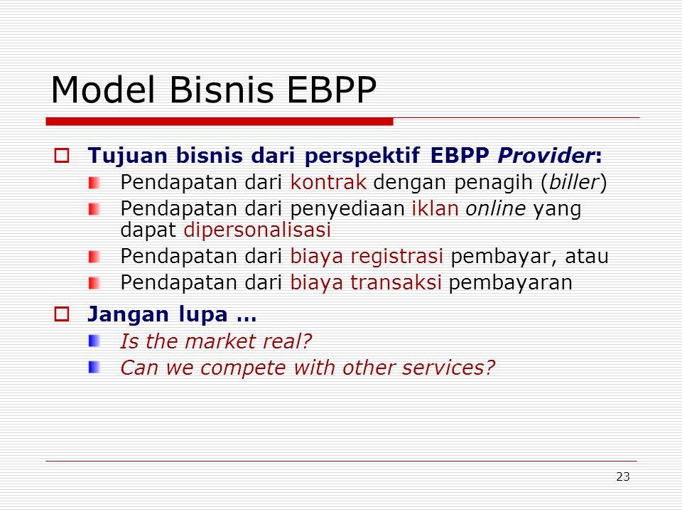 23 Model Bisnis EBPP  Tujuan bisnis dari perspektif EBPP Provider: Pendapatan dari kontrak dengan penagih (biller) Pendapatan dari penyediaan iklan o