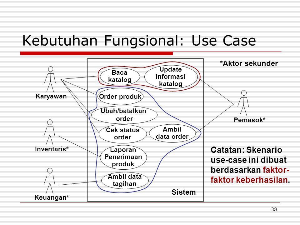 38 Kebutuhan Fungsional: Use Case Keuangan* Order produk Cek status order Ubah/batalkan order Update informasi katalog Laporan Penerimaan produk Ambil