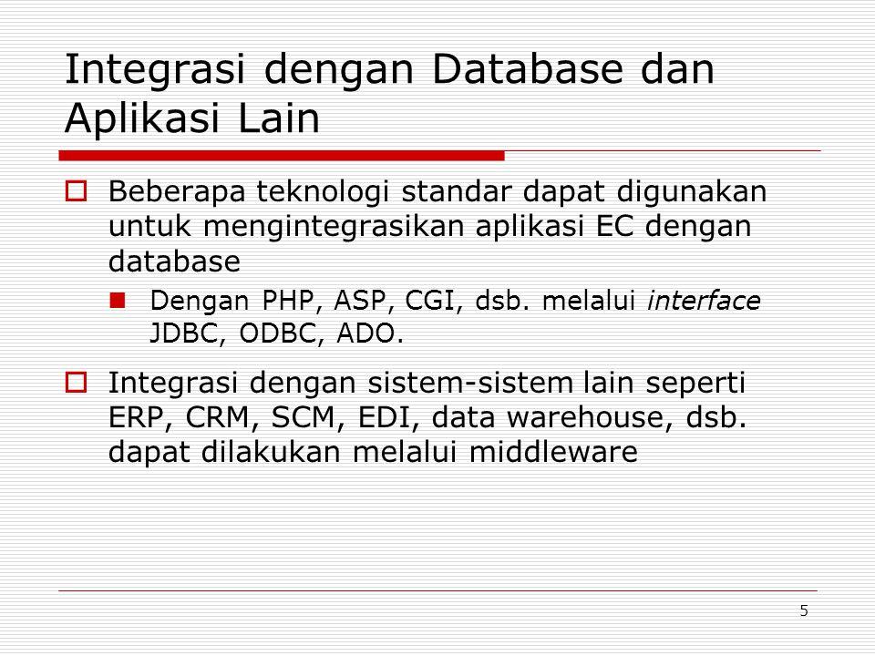 5 Integrasi dengan Database dan Aplikasi Lain  Beberapa teknologi standar dapat digunakan untuk mengintegrasikan aplikasi EC dengan database Dengan P