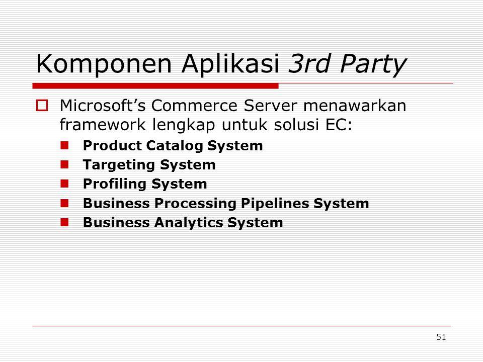 51 Komponen Aplikasi 3rd Party  Microsoft's Commerce Server menawarkan framework lengkap untuk solusi EC: Product Catalog System Targeting System Pro
