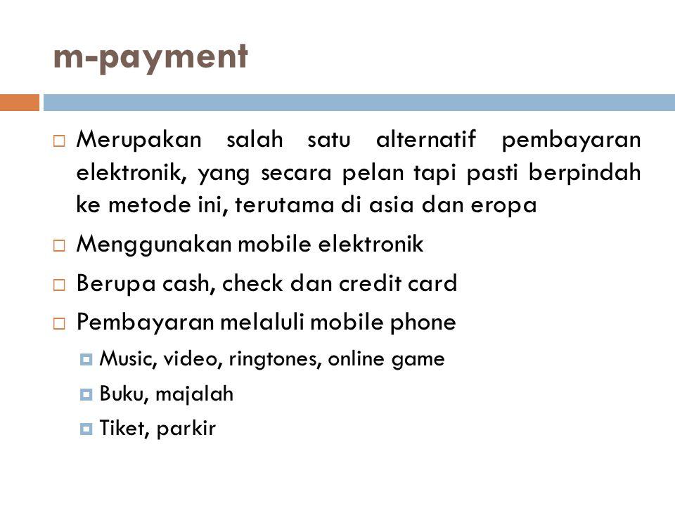 Conventional e-commerce VS m-commerce  Kebutuhan berbeda  Lebih menggunakan mobile  Menggunakan Global System for Mobiles (GSM) terisi dengan Subscriber Identity Module (SIM)