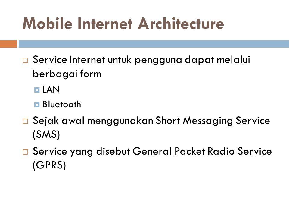 Mobile Internet Architecture  Service Internet untuk pengguna dapat melalui berbagai form  LAN  Bluetooth  Sejak awal menggunakan Short Messaging Service (SMS)  Service yang disebut General Packet Radio Service (GPRS)