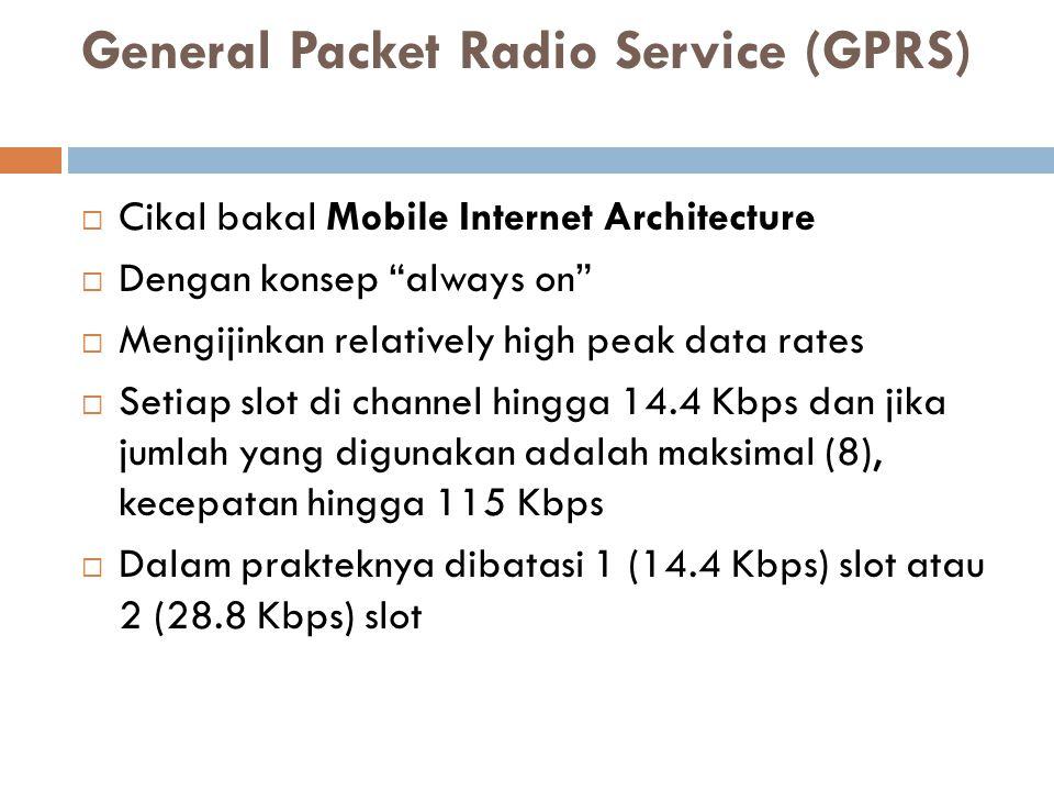 Wireless Application Protocol (WAP)  Eropa  1997 – manufaktur mobile phone membangun service transfer data menggunakan teknologi wireless  Sebelumnya semua vendor telah membangun tetapi memiliki banyak perbedaan  Sehingga diputuskan membuat standarisasi, yaitu WAP