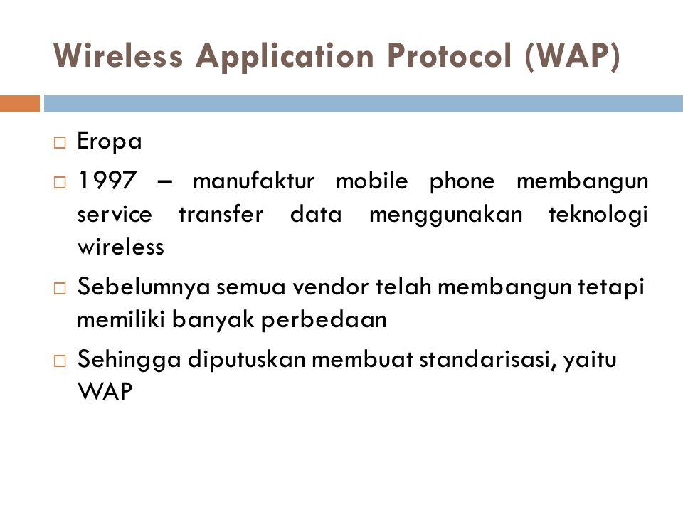 WAP  WAP tidak mendukung konfigurasi internet menggunakan SSL  Sehingga dibangun protokol baru yaitu, Wireless Transport Layer Security (WTLS)  Modifikasi tetap dibutuhkan pada WTLS karena tidak mendukung koneksi dengan bandwith kecil