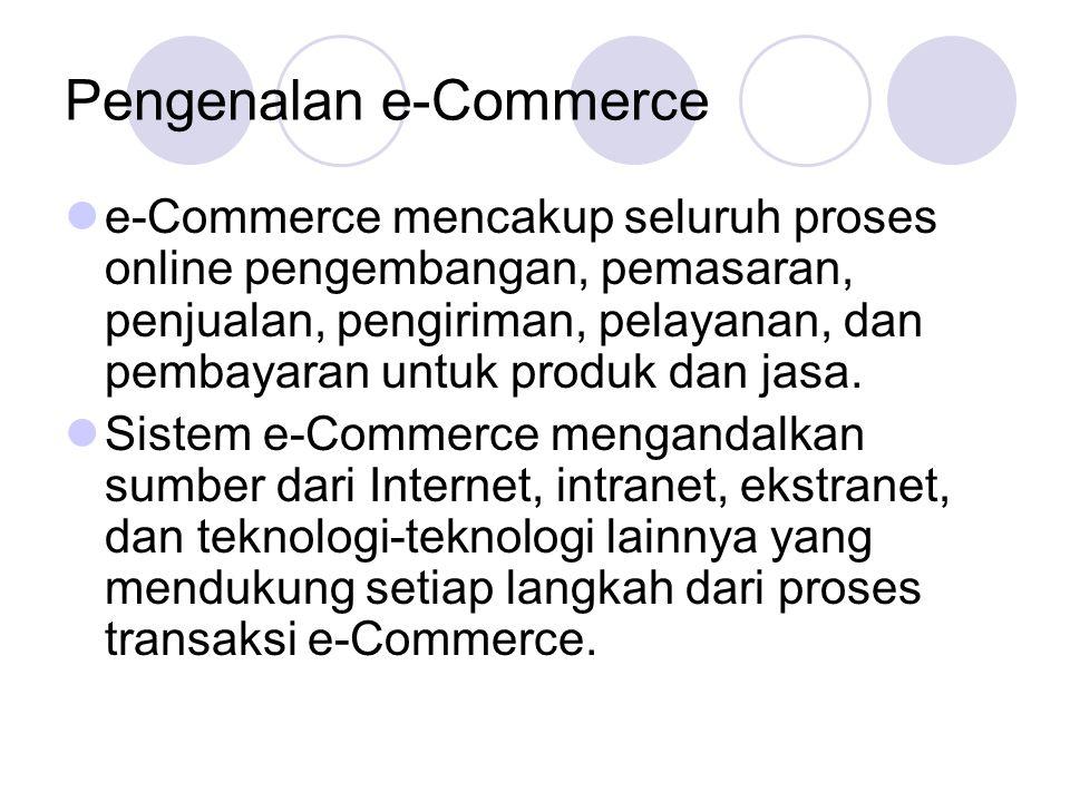 Ruang Lingkup E-Commerce Saat ini kebanyakan perusahaan mengambil bagian atau mensponsori tiga kategori dasar dari aplikasi e-Commerce: B2C (Business-to-Consumer), B2B (Business-to-Business), dan C2C (Consumer-to-Consumer).