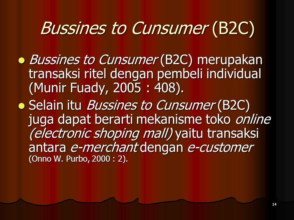 14 Bussines to Cunsumer (B2C) Bussines to Cunsumer (B2C) merupakan transaksi ritel dengan pembeli individual (Munir Fuady, 2005 : 408).