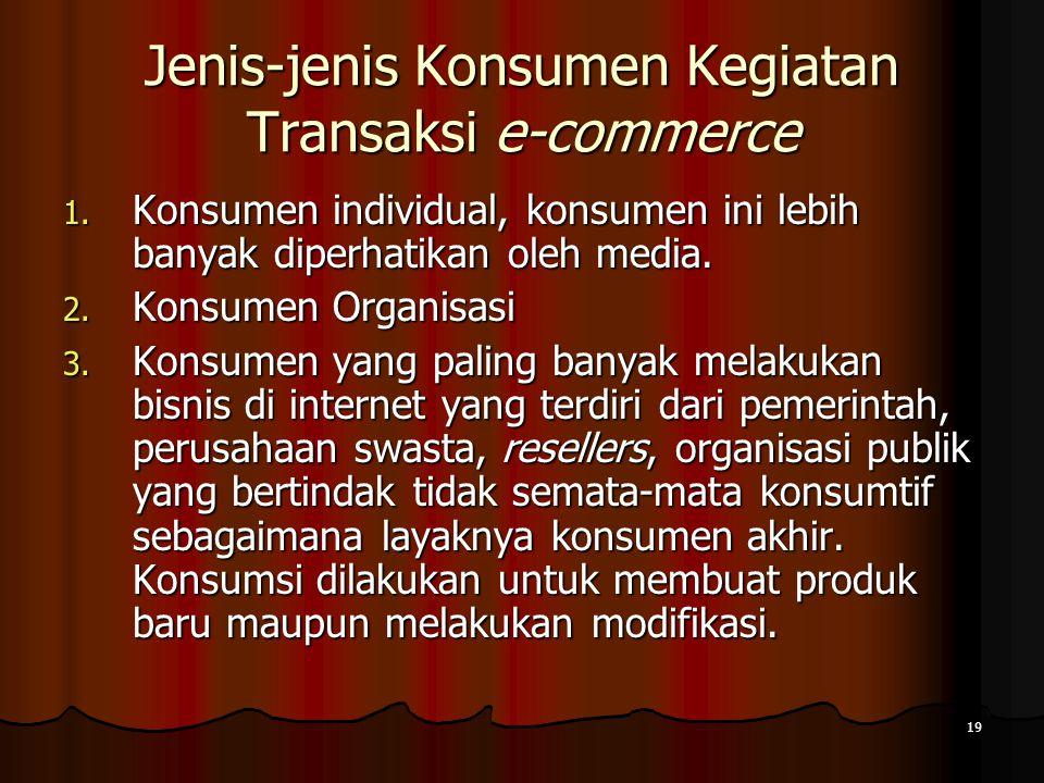 19 Jenis-jenis Konsumen Kegiatan Transaksi e-commerce 1.