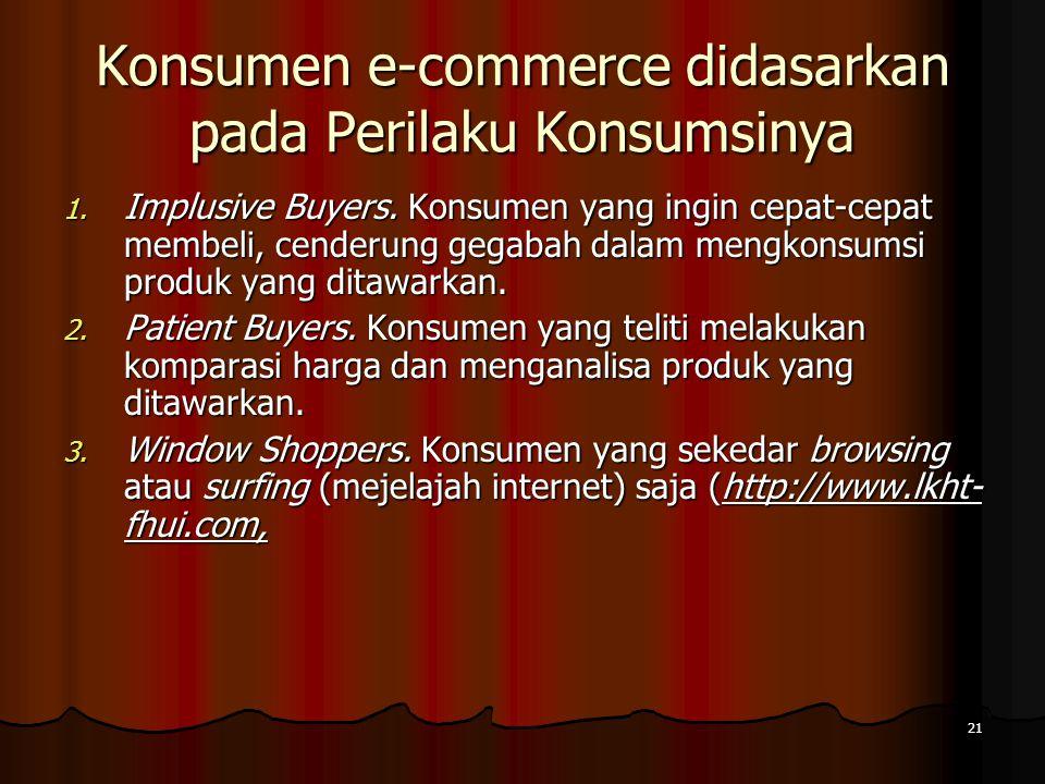 21 Konsumen e-commerce didasarkan pada Perilaku Konsumsinya 1.