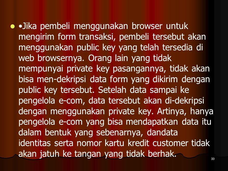 33 Jika pembeli menggunakan browser untuk mengirim form transaksi, pembeli tersebut akan menggunakan public key yang telah tersedia di web browsernya.