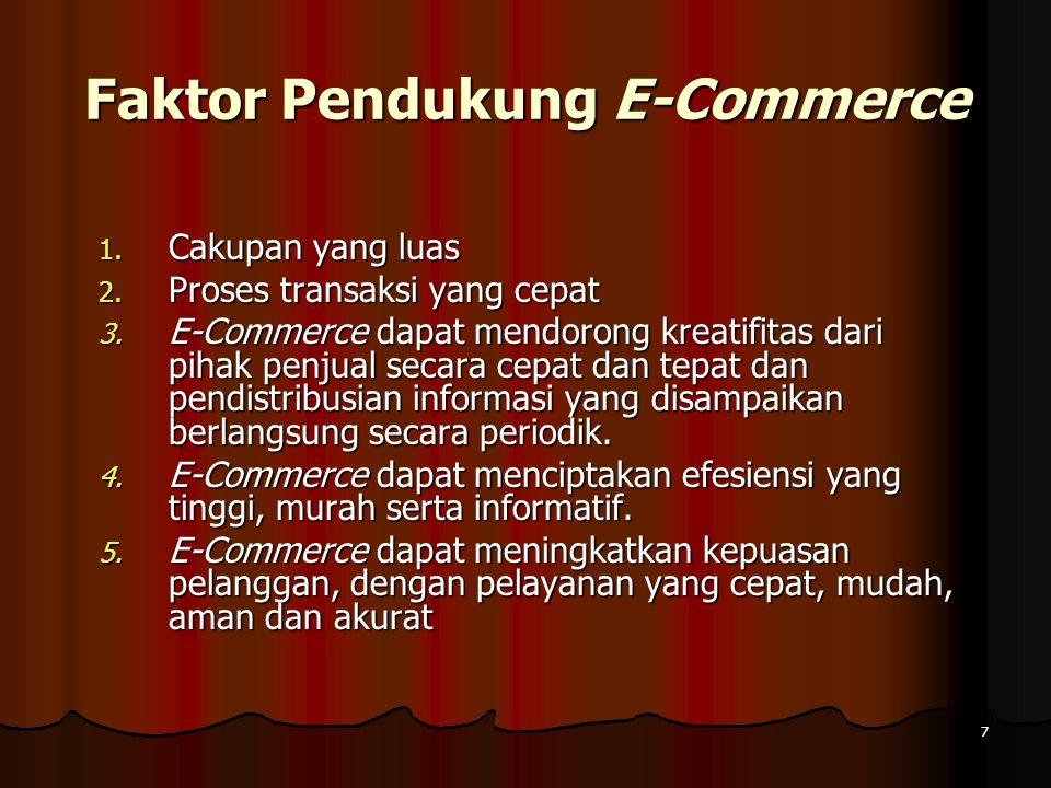 7 Faktor Pendukung E-Commerce 1.Cakupan yang luas 2.