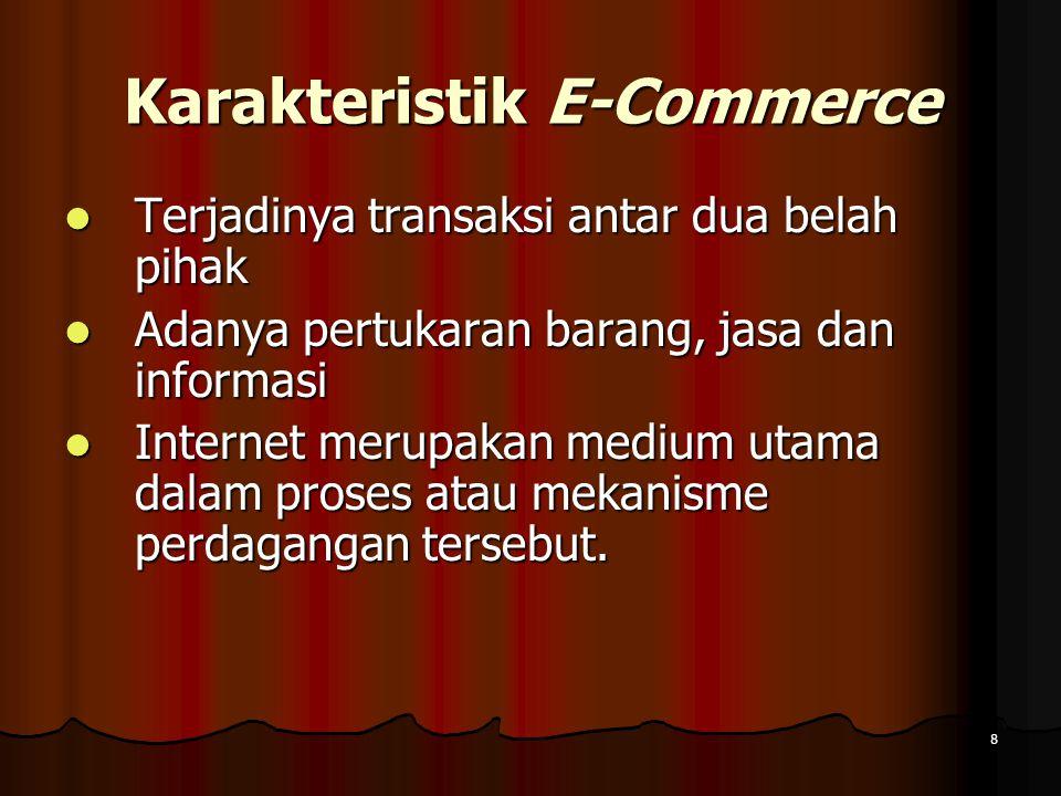 8 Karakteristik E-Commerce Terjadinya transaksi antar dua belah pihak Terjadinya transaksi antar dua belah pihak Adanya pertukaran barang, jasa dan informasi Adanya pertukaran barang, jasa dan informasi Internet merupakan medium utama dalam proses atau mekanisme perdagangan tersebut.