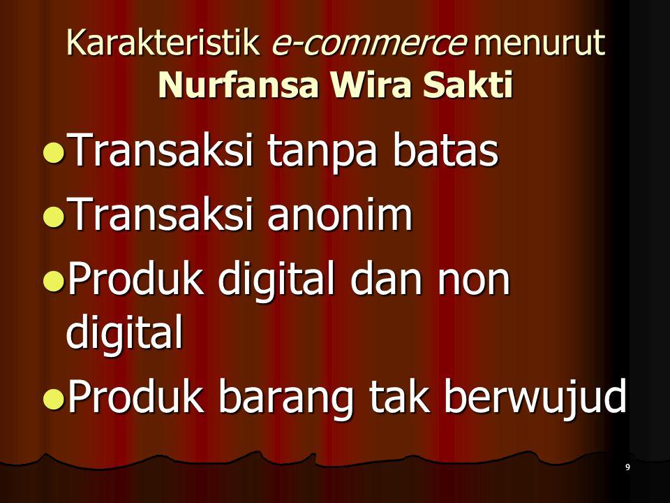 9 Karakteristik e-commerce menurut Nurfansa Wira Sakti Transaksi tanpa batas Transaksi tanpa batas Transaksi anonim Transaksi anonim Produk digital dan non digital Produk digital dan non digital Produk barang tak berwujud Produk barang tak berwujud