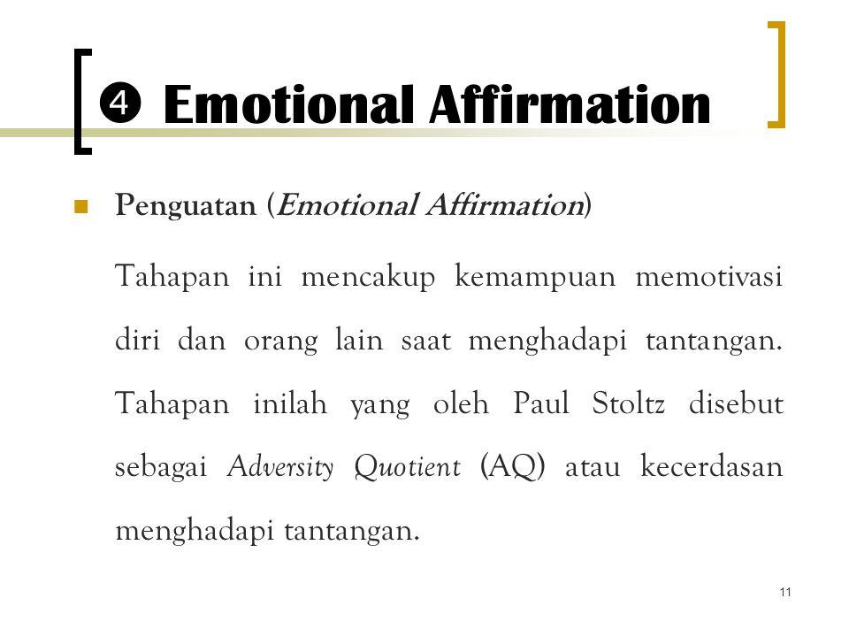 11  Emotional Affirmation Penguatan (Emotional Affirmation) Tahapan ini mencakup kemampuan memotivasi diri dan orang lain saat menghadapi tantangan.