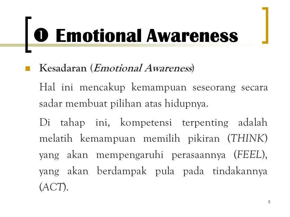 6  Emotional Awareness Kesadaran (Emotional Awareness) Hal ini mencakup kemampuan seseorang secara sadar membuat pilihan atas hidupnya. Di tahap ini,