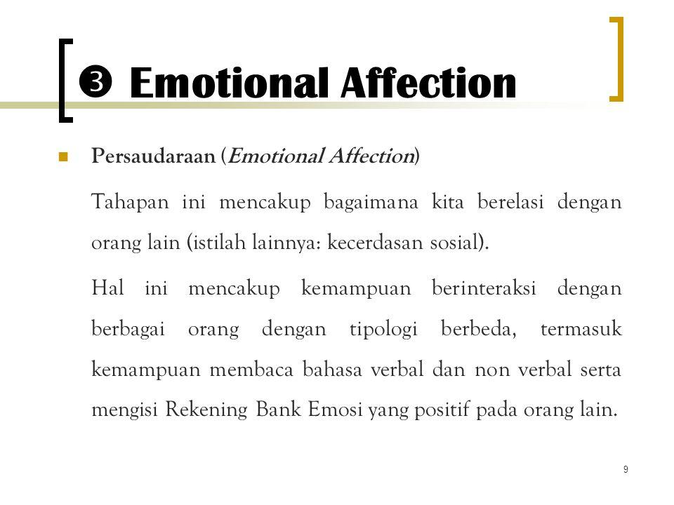 9  Emotional Affection Persaudaraan (Emotional Affection) Tahapan ini mencakup bagaimana kita berelasi dengan orang lain (istilah lainnya: kecerdasan