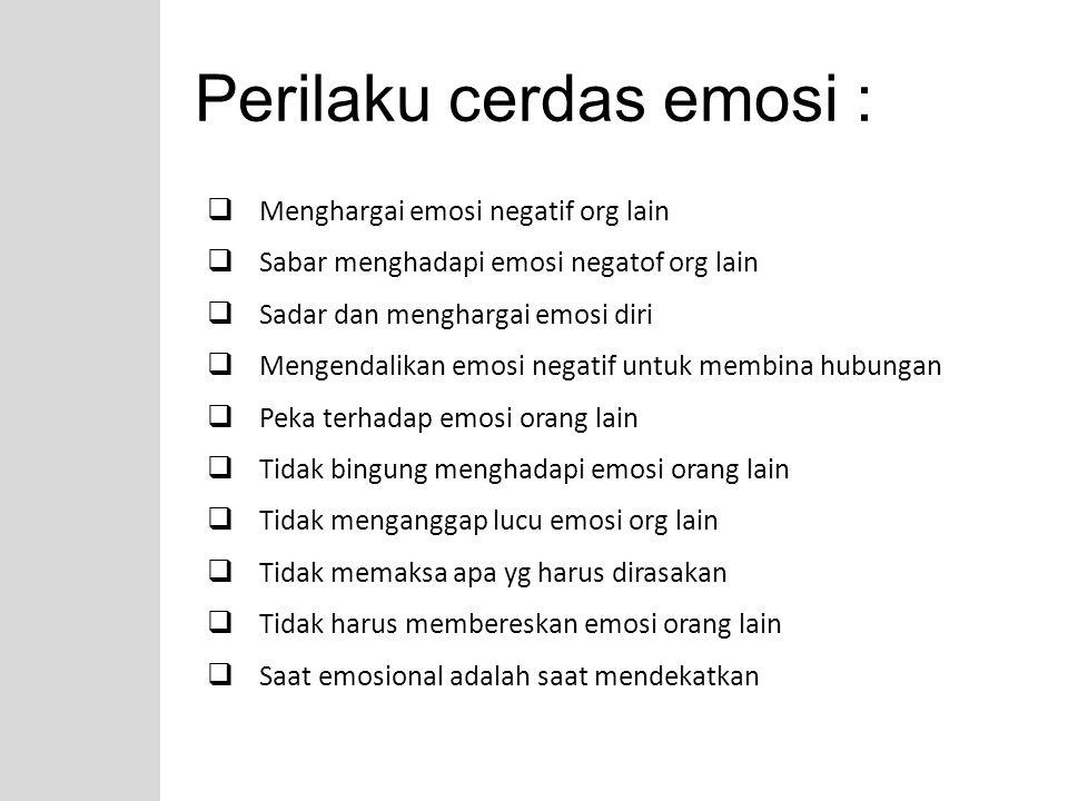 Meningkatkan EQ 1.Paham peran emosi dan memungkinkan anda merasakan perbedaan besar dlm bgm mengendalikan emosi 2.Mengekspresikan kenyataan bahwa tdk seorangpun memiliki perasaan yg sama ttg persoalan yg serupa 3.