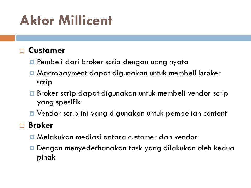 Aktor Millicent  Customer  Pembeli dari broker scrip dengan uang nyata  Macropayment dapat digunakan untuk membeli broker scrip  Broker scrip dapa