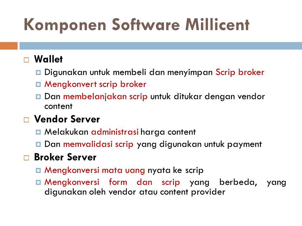 Komponen Software Millicent  Wallet  Digunakan untuk membeli dan menyimpan Scrip broker  Mengkonvert scrip broker  Dan membelanjakan scrip untuk d