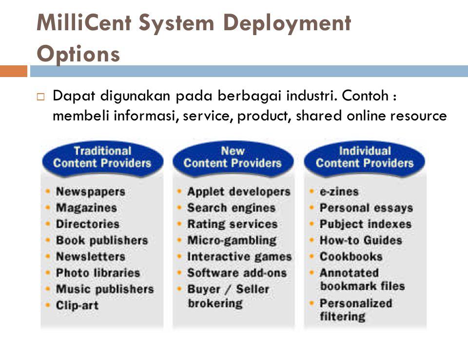 MilliCent System Deployment Options  Dapat digunakan pada berbagai industri. Contoh : membeli informasi, service, product, shared online resource