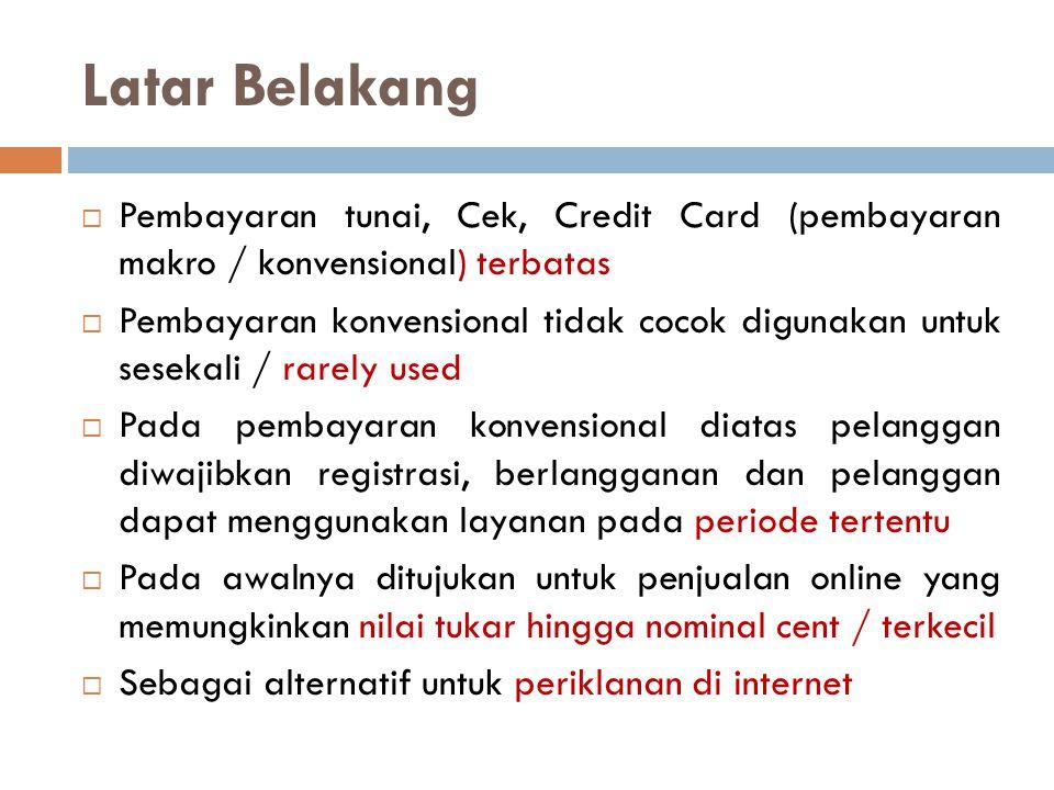 Latar Belakang  Pembayaran tunai, Cek, Credit Card (pembayaran makro / konvensional) terbatas  Pembayaran konvensional tidak cocok digunakan untuk s