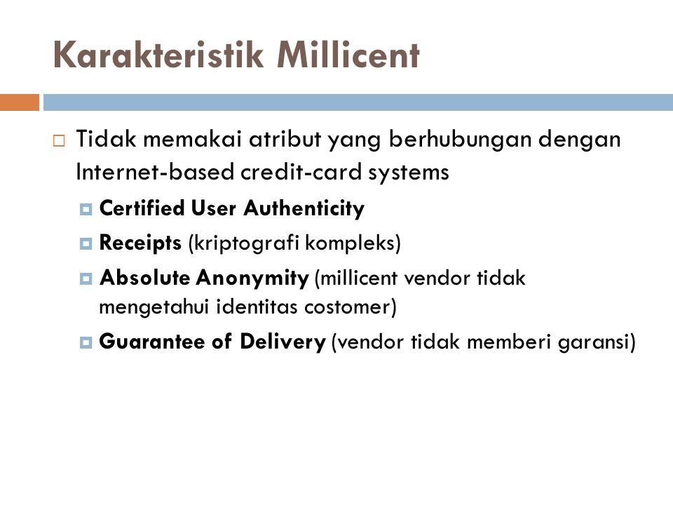 Karakteristik Millicent  Tidak memakai atribut yang berhubungan dengan Internet-based credit-card systems  Certified User Authenticity  Receipts (k