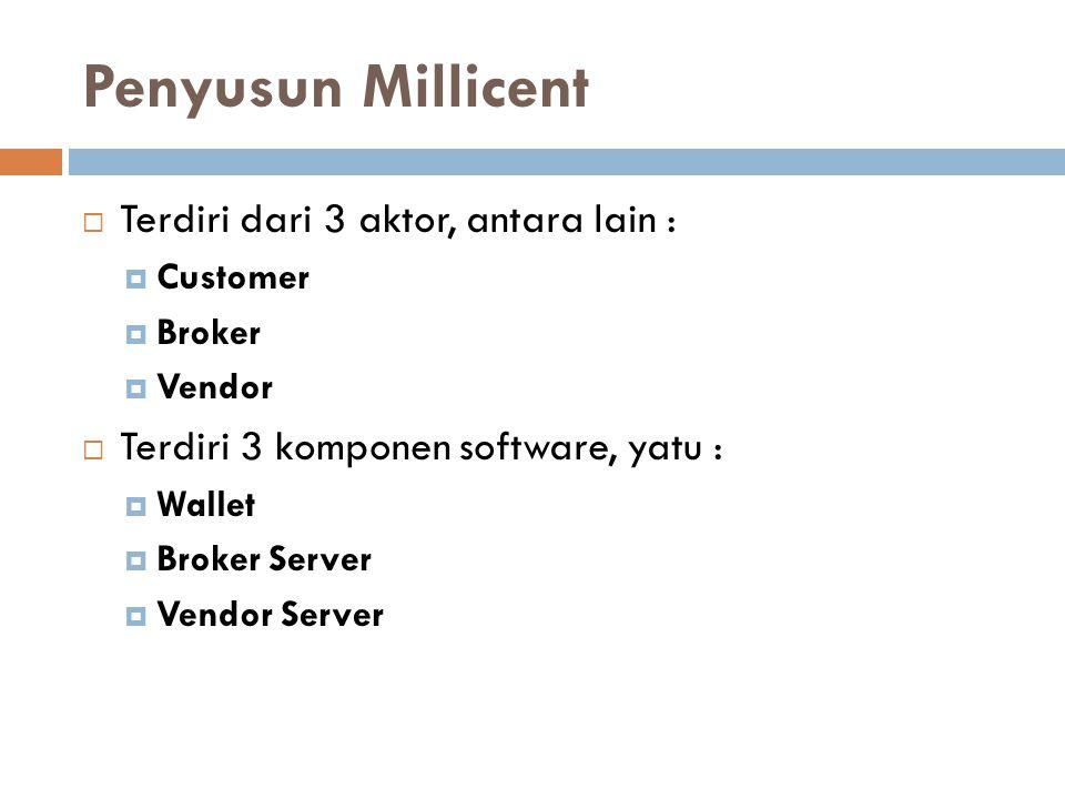 Penyusun Millicent  Terdiri dari 3 aktor, antara lain :  Customer  Broker  Vendor  Terdiri 3 komponen software, yatu :  Wallet  Broker Server 