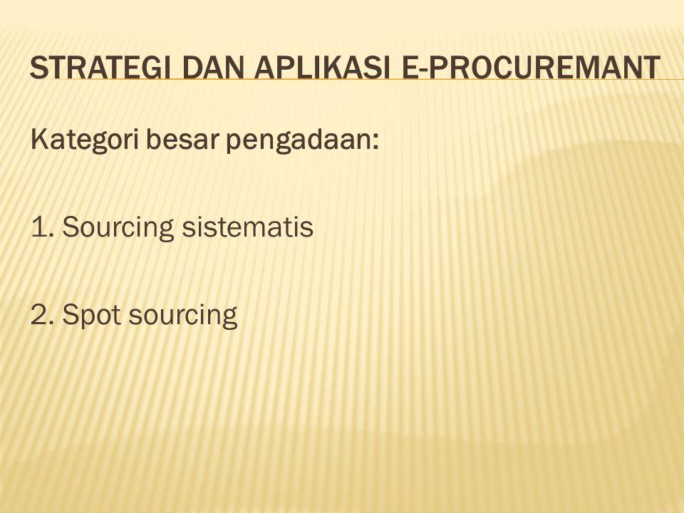 STRATEGI DAN APLIKASI E-PROCUREMANT Kategori besar pengadaan: 1. Sourcing sistematis 2. Spot sourcing