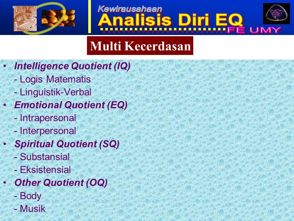 1 Intelligence Quotient (IQ) - Logis Matematis - Linguistik-Verbal Emotional Quotient (EQ) - Intrapersonal - Interpersonal Spiritual Quotient (SQ) - Substansial - Eksistensial Other Quotient (OQ) - Body - Musik Multi Kecerdasan