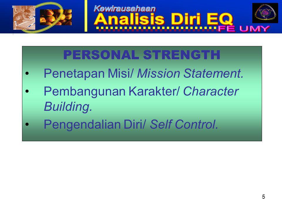 5 PERSONAL STRENGTH Penetapan Misi/ Mission Statement.