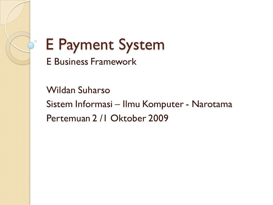 E Payment System E Business Framework Wildan Suharso Sistem Informasi – Ilmu Komputer - Narotama Pertemuan 2 /1 Oktober 2009