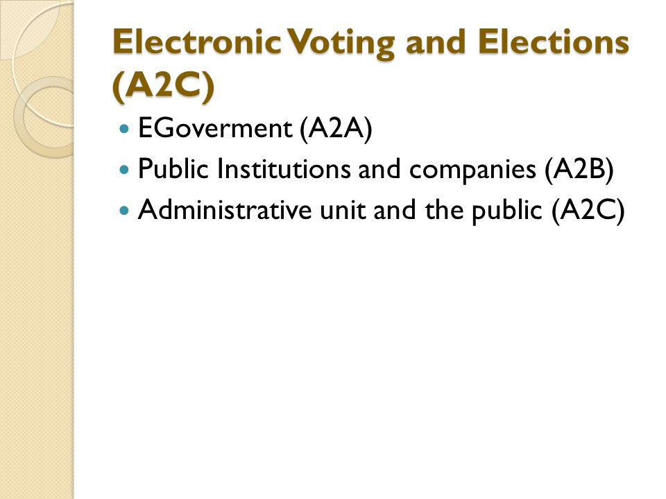 Electronic Voting and Elections (A2C) EGoverment (A2A) Public Institutions and companies (A2B) Administrative unit and the public (A2C)